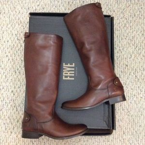 🆕FRYE cognac tan brown leather tall boot zip back